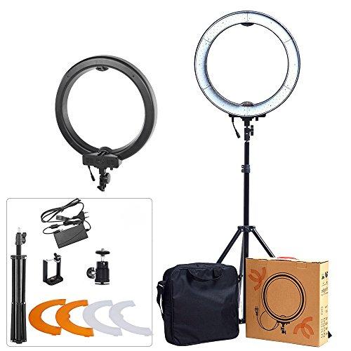 ASHANKS 18'' SMD Outer 55W 5500K 240 Ring Light Kit LED Dimmable Camera Photo Ring Video Lights+Plastic Color Filter Set for Smartphone, Vine Self-Portrait Video Shooting(Black) by ASHANKS