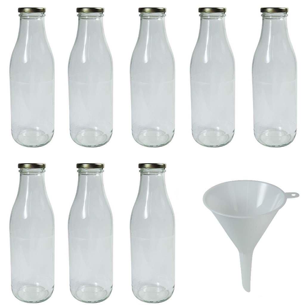 Viva Haushaltswaren Bottiglie di vetro/Latte Biberon da 250ML con tappo a vite–argentate e imbuto, Vetro, Coperchio bianco, 8 x 1000ml - #62197#