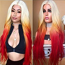 Ombre Blonde Lace Front Wig Glueless Long Wavy High Temperature Synthetic Heat Resistant Fiber Hair Wigs for Women 24 Inches