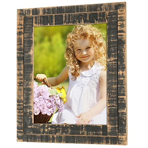 (Excello Global Products Rustic Distressed Wood Frame: Holds an 8x10 Photo: Ready to Hang, Ready to Stand with Built in Easel, Shabby Chic, Driftwood, Barnwood, Farmhouse, Reclaimed Wood Picture Frame)