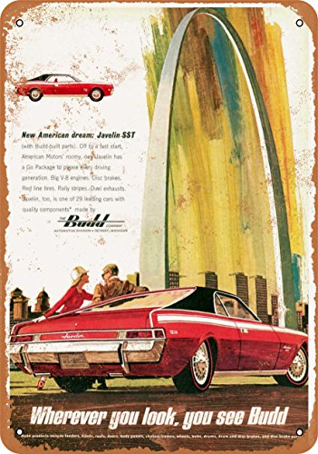Wall-Color 9 x 12 METAL SIGN - 1968 AMC Javelin SST Budd - Vintage Look Reproduction (Satin Sst)