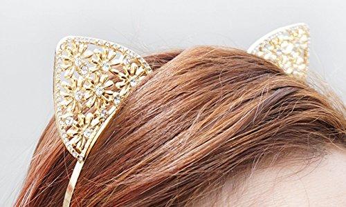 Crystal Cat Ears, Cat Ears Headband, Gold Cat Ears Headband, Gold Crystal Cat Ears, Jewel Cat Ears, Jeweled Cat Ears, Rave Cat Ears]()