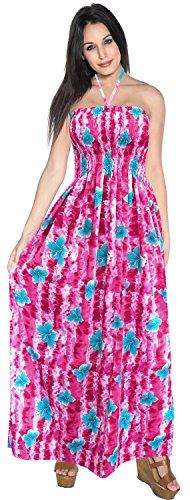Printed Maxi Tube Dress (La Leela Likre Printed tropical wedding vacation festive length Full Skirt slit club cocktail flowy, One Size, Pink)