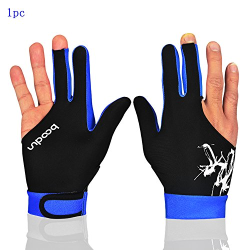 MIFULGOO Man Woman Elastic 3 Fingers Gloves for Billiard Shooters Carom Pool Snooker Cue Sport - Wear on The Right or Left Hand (Black Blue, M)
