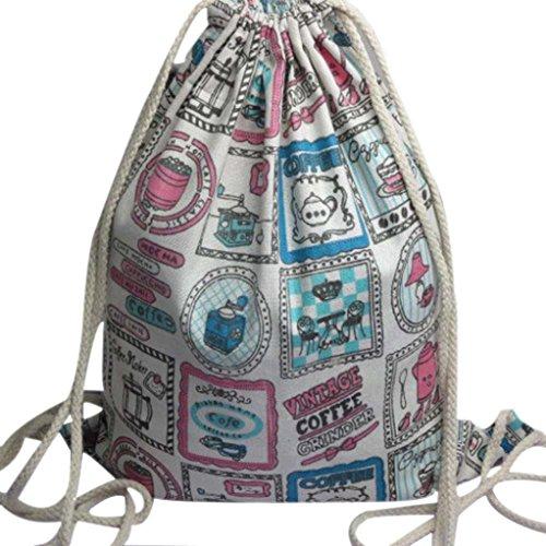 Clode® Mochila unisex lazo Retro impresión Haz puerto comercial escuela de hombro bolsa morral mochila bolso cadena viaje gimnasio Color de rosa