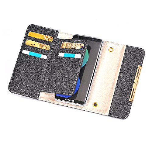 FuriGer S7 Edge Case, Apple S7 Edge Wallet Case,Bling Glitter PU Leather 7 Card Slots Wallet Case Handbag with Detachable Magnetic Back Case and Metal Chain for S7 Edge-Black by FuriGer