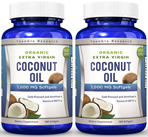 Coconut Oil Capsules - 1000 mg Organic Extra Virgin - 180...