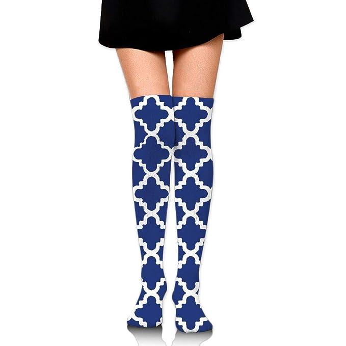e493525bbfc Aouho Socks Long Over the Knee Thigh High Socks Navy Blue Print High ...