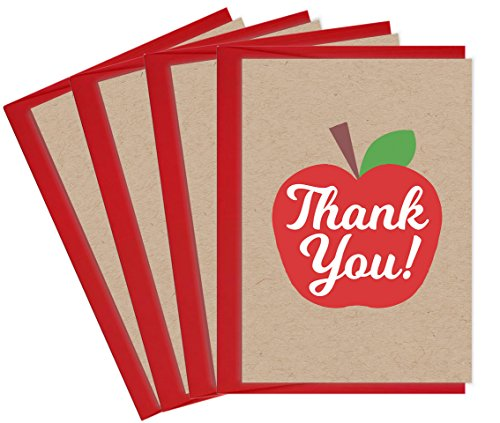 - Tiny Expressions Teacher Appreciation School Thank You Cards (4 Pack Apple)