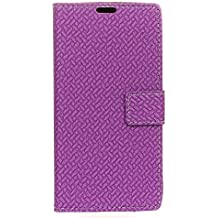 Case for Alcatel A3 [PU Leather], BasicStock Woven Stand Function Magnetic Closure Wallet Case with Money and Card Slots Flip Cover Screen Protector for Alcatel A3 (Purple)