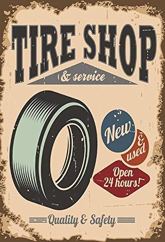 Cartel de Chapa gen/érica 20 x 30 cm Tire Shop /& Service Garaje Neum/áticos Taller Cartel Auto