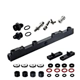 Heavy Duty Mounts Billet Aluminum Top Feed High Flow EFI Fuel Injector Rails Kit Suit for NISSAN SR20, Black