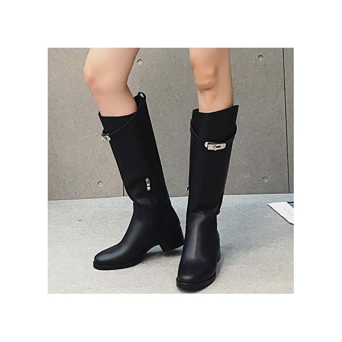 Shukun Stivaletti White Knight Boots Winter Scarpe Da Donna Strass Moda Piattaforma Nera