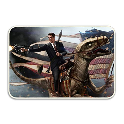 WYIOU Artistic Politics Velociraptor Ronald Reagan Doormat Entrance Mat Floor Mat Rug Indoor/Bathroom Mats