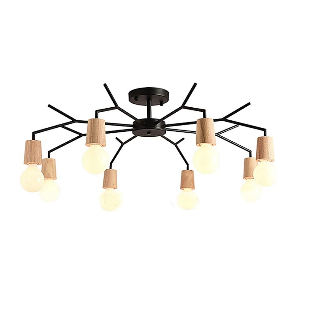 Aero Snail 8 Heads Northern Europe Wood Art Deco Metal Bough Ceiling Light Living Room Dining Room Flush Mount Chandeliers