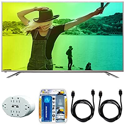 "Sharp Aquos N7000 65"" Class 4K Ultra WiFi Smart LED HDTV (65N7000U) with 6 Outlet Wall Tap w/ 2 USB Ports White, Performance TV/LCD Screen Cleaning Kit & 2x HDMI to HDMI Cable 6'"