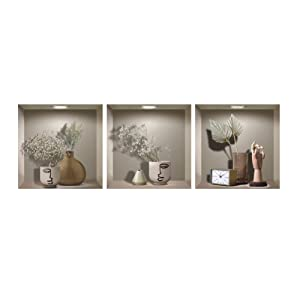 """TOARTi 3PC Pack Art Magic Pictures Peel and Stick 3D Vinyl Wall Decals(12""""x12""""),DIY Backsplash Bonsai,Green Plants, Vase,Clock,Sculpture of Hand Wall Stickers for Living Room Kitchen Home Decor"""