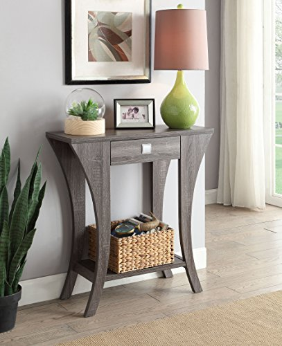 Weathered Grey Finish Console Sofa Entry Table with Drawer (Console Table Grey)