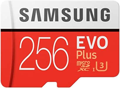 SAMSUNG MC256GA/APC Evo Plus 2 MicroSd Card 100/90Mbs with Adapter, Red, 256Gb
