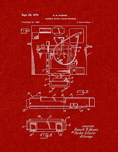 Cassette Record Player-Recorder Patent Print Burgundy Red (5