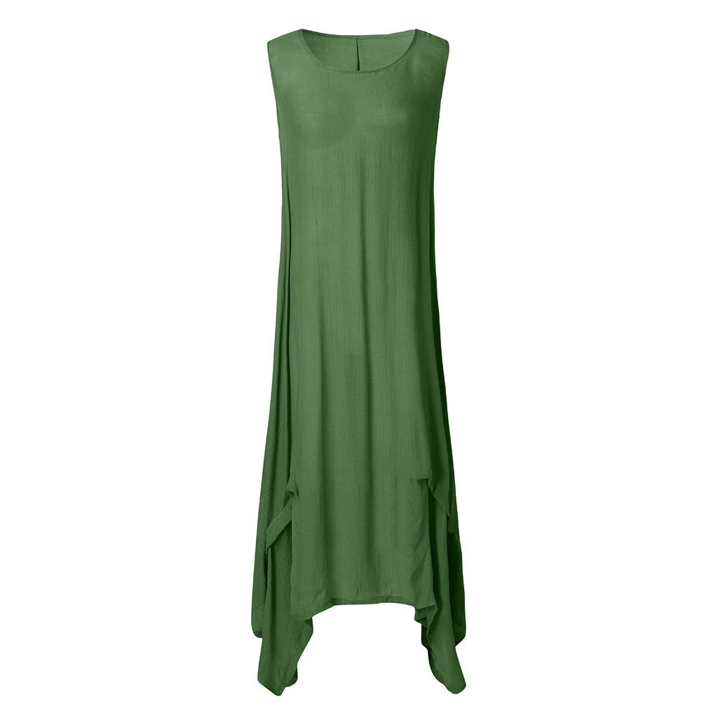 Sonojie Clearance sale Summer Women Fashion Sleeveless Irregular Daily Casual Pure Colour Round Neck Simple Loose Long Dresses