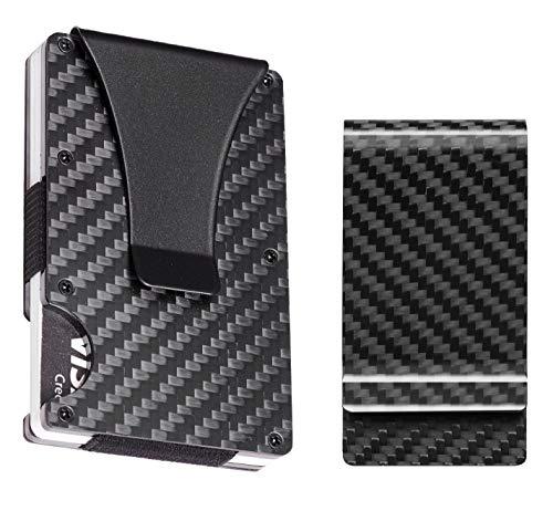 BSWolf Carbon Fiber Slim Minimalist Front Pocket Wallet Credit Card Case Holder RFID Blocking(carbon fiber black with bonus clip)