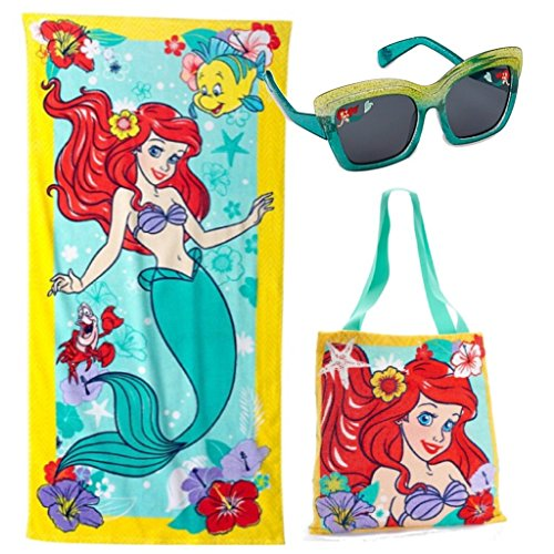 Disneys The Little Mermaid 3 Piece Swim Set Ariel Beach Towel Tote And Sunglasses