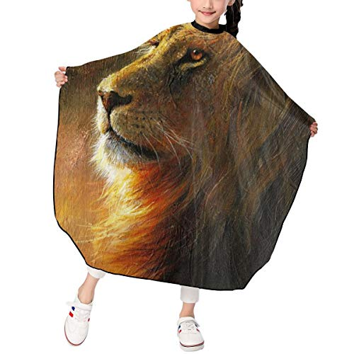 Kjhdgkshdd Lion Paint Haircut Apron 3947 in One Size -Personality, Skin Friendly, Professional Hairdressing Apron for Children