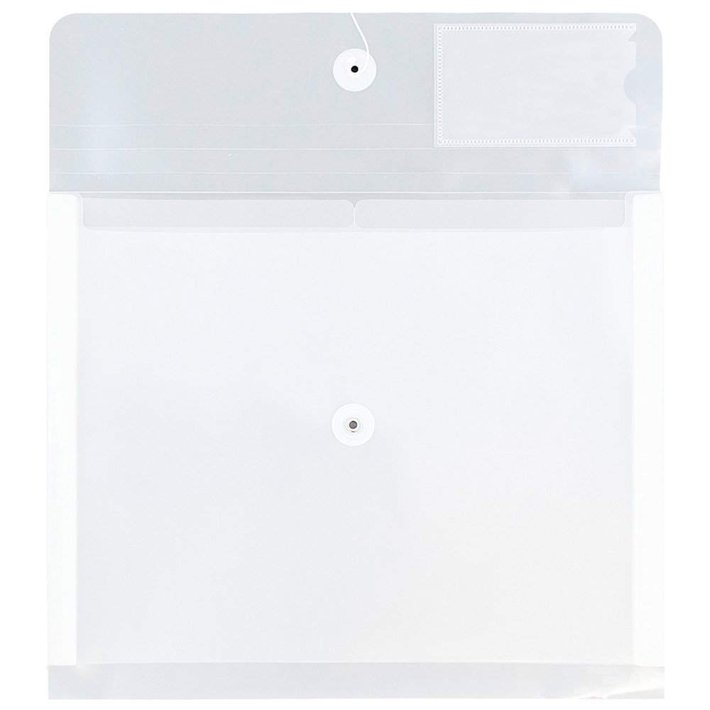 JAM Paper Plastic Envelopes with Button & String Tie Closure & 2 Dividers - Letter Booklet - 12 3/4 x 10 1/2 - Clear - 24/Pack