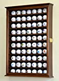 70 Golf Ball Display Case Cabinet Holder Wall Rack w/ UV Protection -Walnut
