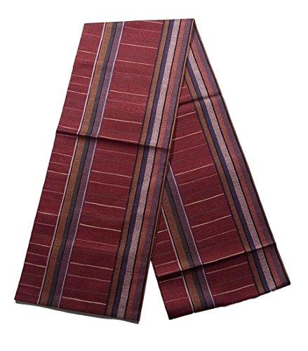 三角形通行料金日光リサイクル 名古屋帯 八寸 縞に異国の壁画文 正絹