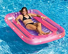 The inflatable suntan tub from Swimline makes relaxing in the pool so fun and easy! The versatility of the pool sun tan tub allows you to pour water in to cool off on a very hot day. Lounge in the suntan tub in your pool or on the patio. Whet...