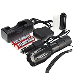 Ultrafire CREE XML T6 LED Flashlight 5 Mode Zoomable Torch + 2PC Rechargable Battery + Charger from Ultrafire