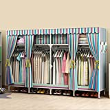 LaaLaa Bedroom Portable Wardrobe Detachable Oxford Cloth And 2.5cm Steel Pipe Frame Extra Strong And Durable Home Decoration Clothing Storage Wardrobe,B