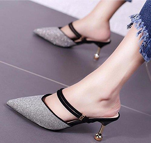 GTVERNH Baotou Señaló De Verano Bien Moda Señoras Dos Desgaste Salvaje 6Cm Solo Zapatos Cool Arrastrar black