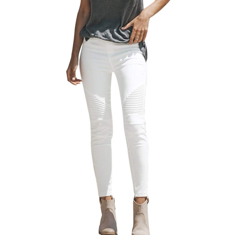 LHWY Women High Waist Stretch Hose Jeans Pleat Leggings Skinny Slim Fitness Pants Tall Denim Trousers Clothes