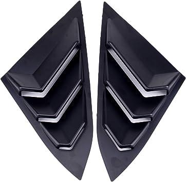 Tasan Racing 2Pcs ABS Rear Window Louvers Car Rear Window Blinds Side Tuyere Louvers Vent for Honda Civic Black