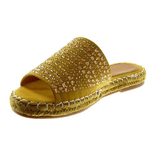 Mule Finition Femme Surpiqûres Cm Talon Mode Strass Moutarde Bloc Corde 2 Slip 5 Sandale Coutures on Chaussure Angkorly qtBz44