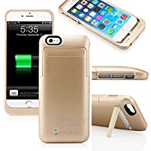 """For iPhone 6 Black 3500mAh External Battery 4.7"""" Case Charger Portable Charger Battery Up Power Bank Rechargeable Power Case with Stand 4.7inch for iPhone6 - Gold"""