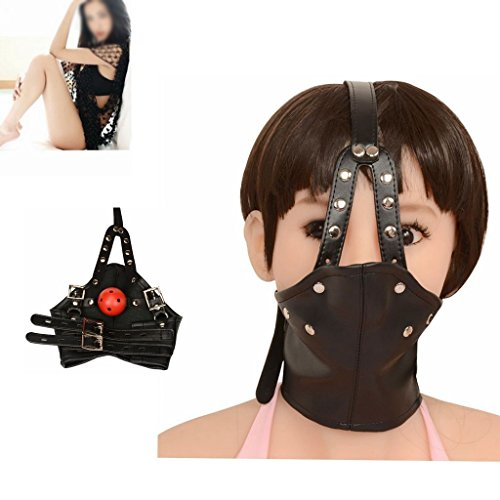 WALLER PAA Leather Head Harness Panel Mouth Ball Gag Restraint Face Mask Collar (Silent Movie Couple Costume)