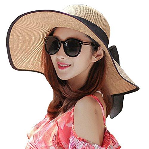 owknot Straw Hat Floppy Roll up Beach Cap Big Brim Sun Hat Khaki,One Size(22inch-22.8inch Circumference) (Elegant Straw)