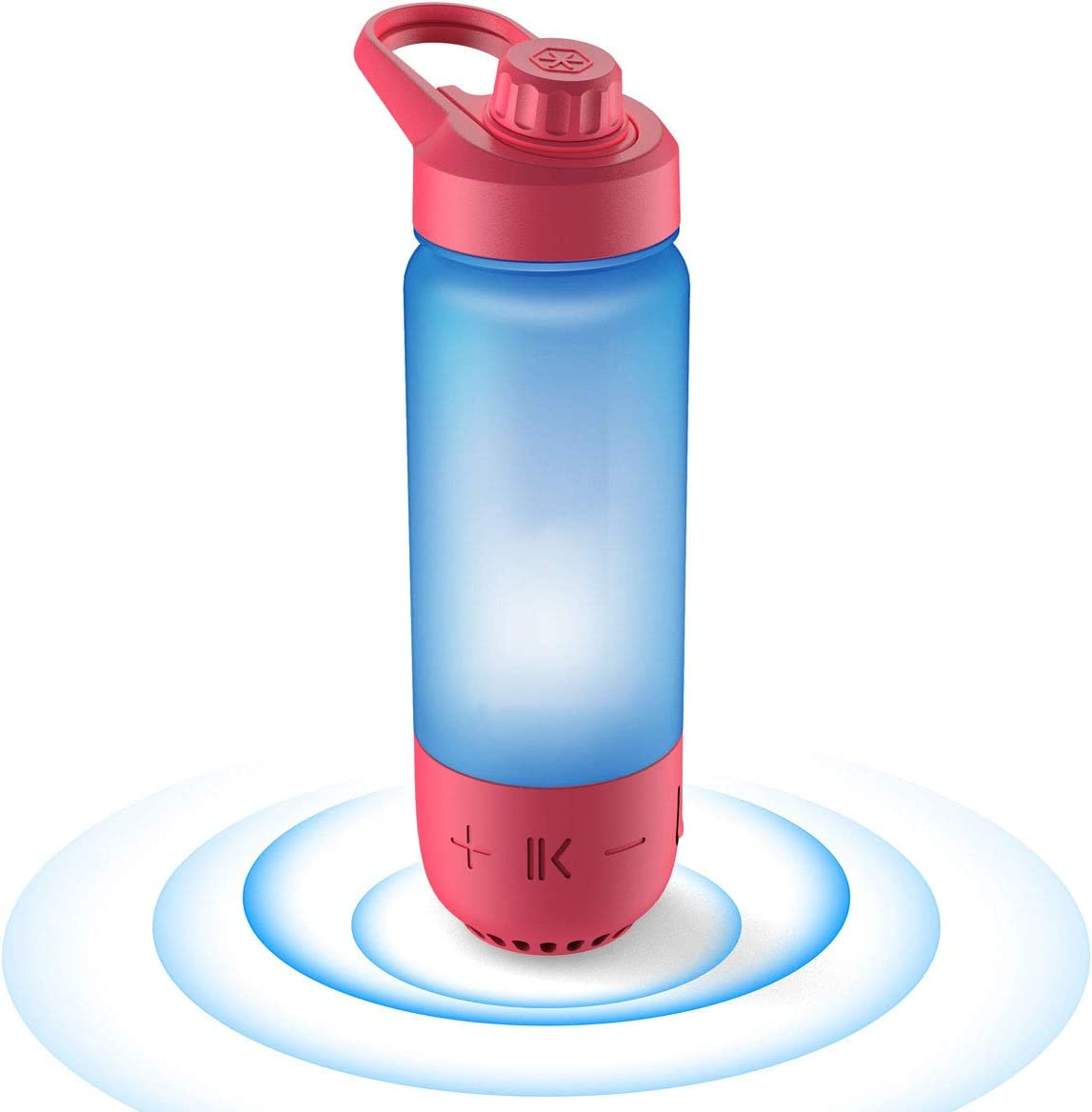 ICEWATER 3-in-1 Smart Water Bottle(Glows to Remind You to Stay Hydrated)+Bluetooth Speaker+Music Dancing Lights,22 oz,Stay Hydrated, Enjoy Music(Red)