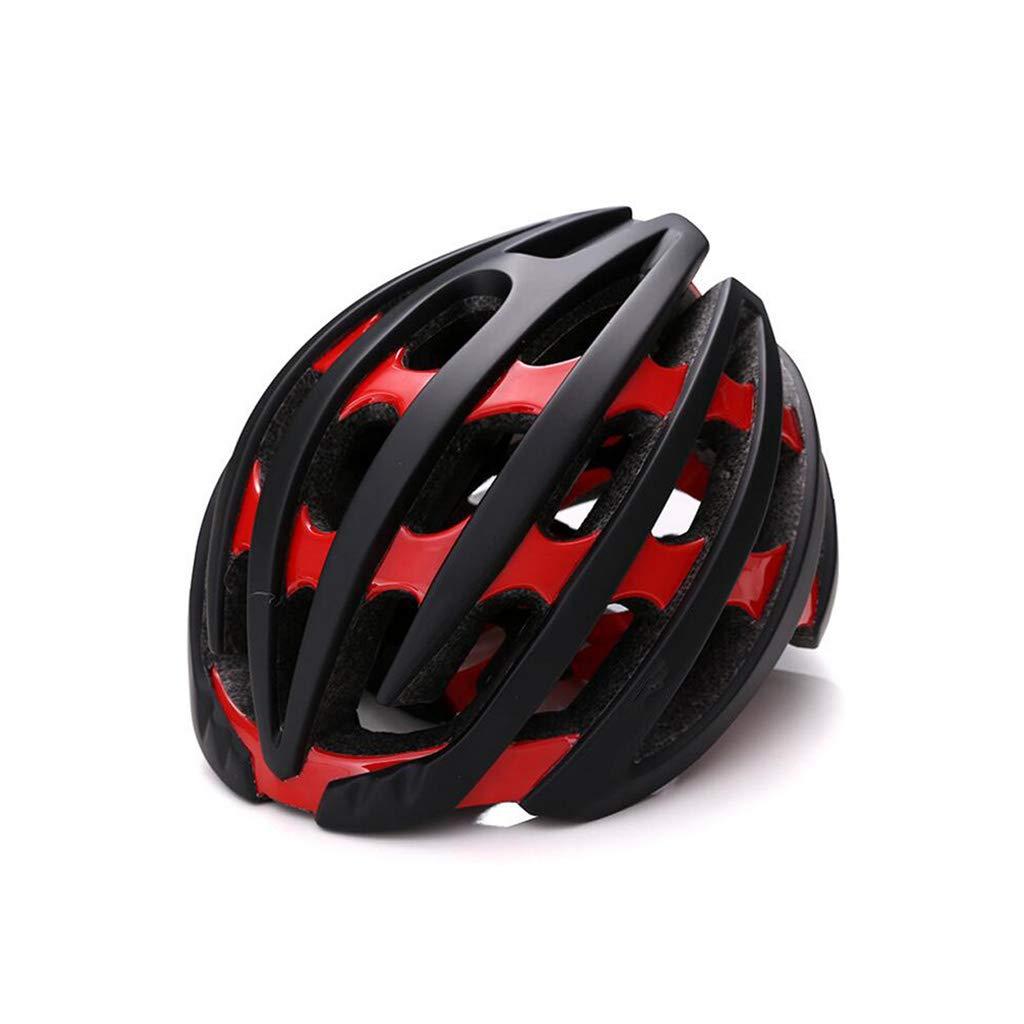 ヘルメット サイクルバイクヘルメット、ロードマウンテンバイクヘルメット調節可能な軽量ワンボディー成人用ヘルメットバイクレーシングセーフティキャップ L l Red B07PZLXKHC
