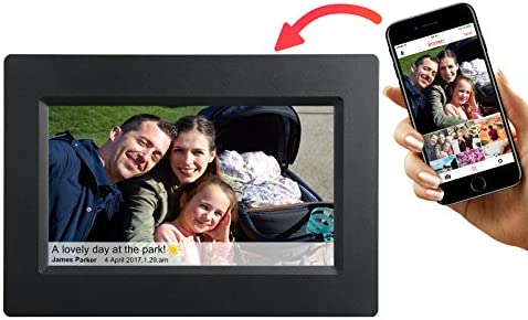 Feelcare 7 Inch Smart WiFi Digital Picture Frame with Touch Screen, Send Photos or Small Videos from Anywhere, IPS LCD Panel, Built in 8GB Memory, Wall-Mountable, Portrait Landscape Black