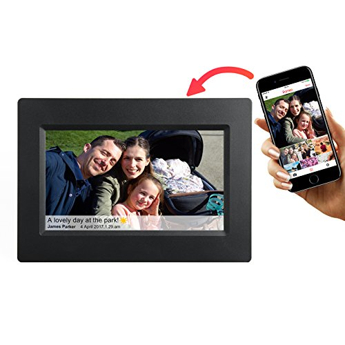 Feelcare 7 Inch Smart Wifi Digital Picture Frame with Touch Screen, IPS LCD Panel, Built in 8GB Memory, Wall-Mountable, Portrait&Landscape, Instantly Sharing Moments(Black)