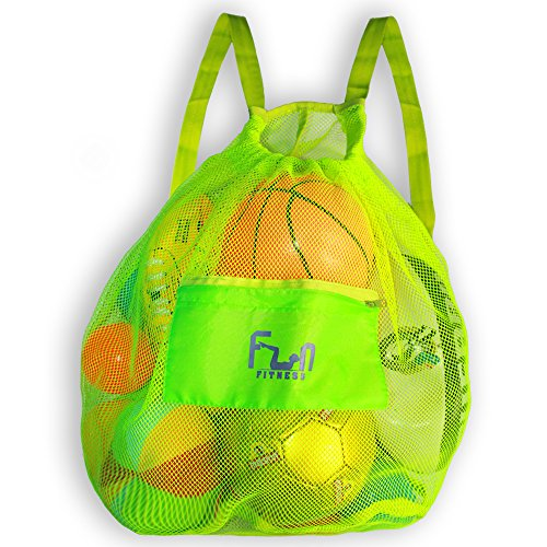 (MESH BAG - Drawstring Backpack Perfect for Beach, Swim, Pool Toys like Volleyball, Soccer - Keep Sand Water Away - Most Durable Large Size Tote Hold Up to 25lbs - Secure Storage with Zipper Pocket)