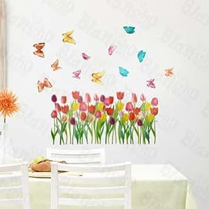 Tulipa y mariposas pared pegatinas de decoraci n para el for Amazon decoracion pared