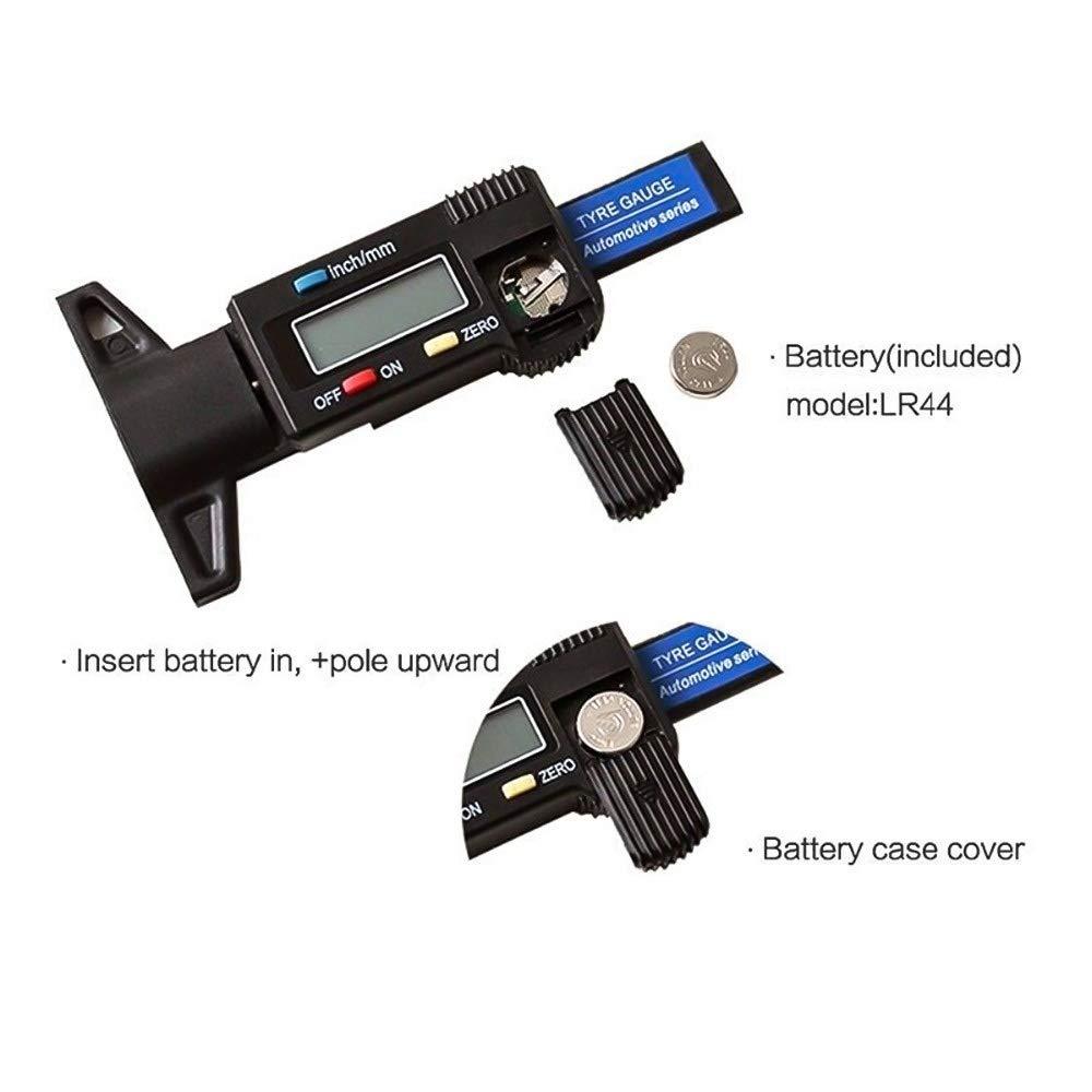 Color : Black Lamp love Digital Tyre Depth Gauge Tread Checker Motorbike Tire Tester Car Brake Shoe Pad Wear Gauge