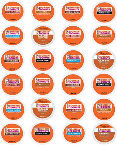24 Count - Variety pack of Dunkin Donuts Coffee K Cups for All Keurig K Cup Brewers - (6 flavors, NO DECAF, 4 K cups each flavor)