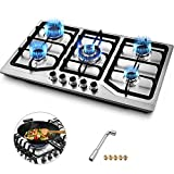 Happybuy 34x20 inches Built in Gas Cooktop 5 Burners Gas Stove Cooktop Stainless Steel Cooktop Gas Hob With Liquid Propane Conversion Kit Thermocouple Protection and Easy To Clean